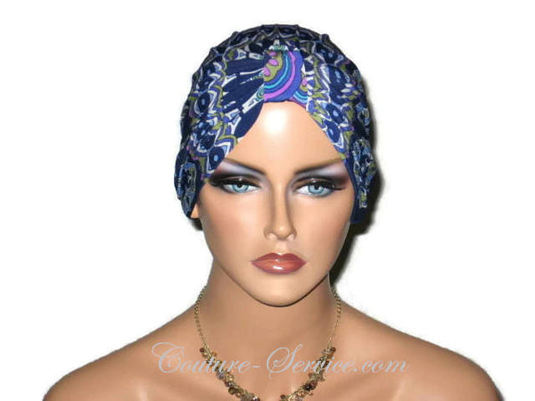 Handmade Blue Chemo Turban, Abstract, Medallions - Couture Service  - 1