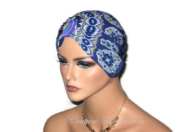 Handmade Blue Chemo Turban, Abstract, Medallions - Couture Service  - 2