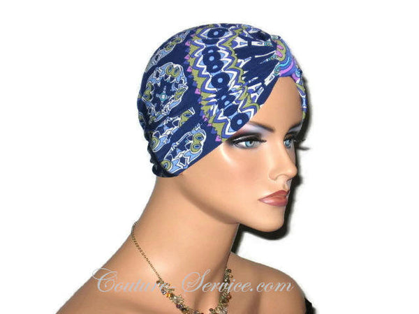 Handmade Blue Chemo Turban, Abstract, Medallions - Couture Service  - 4