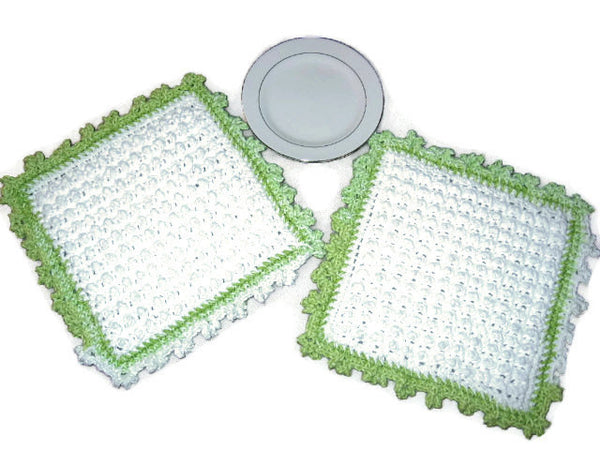 Handmade Decorative Crocheted Cotton Dishcloth Set, White, Green - Couture Service  - 1