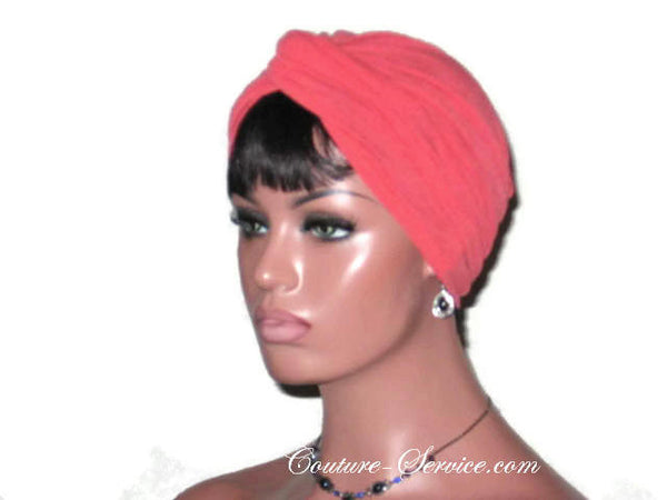 Handmade Orange Twist Turban, Crepe Textured - Couture Service  - 2