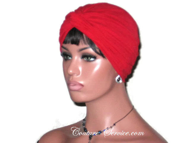 Handmade Red Twist Turban, Crepe Textured - Couture Service  - 1