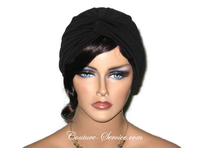 Handmade Black Twist Turban, Deep Black - Couture Service  - 1