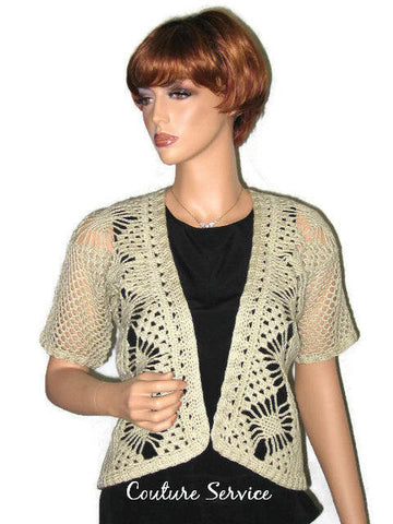 Handmade Crocheted Open Front Spider Lace Jacket, Natural - Couture Service  - 1