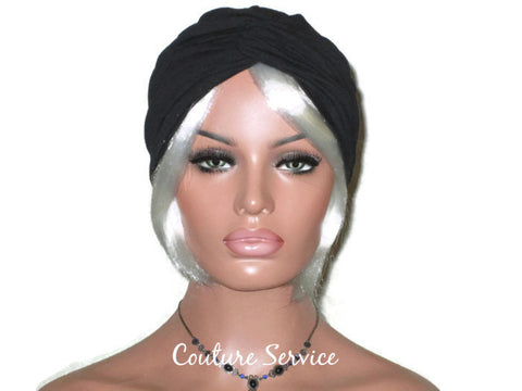 Handmade Black Twist Turban, Cotton Lycra - Couture Service  - 1