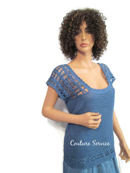 Handmade Crocheted Bamboo Lace Tank Top, Blue - Couture Service  - 1