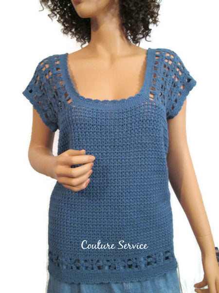 Handmade Crocheted Bamboo Lace Tank Top, Blue - Couture Service  - 2
