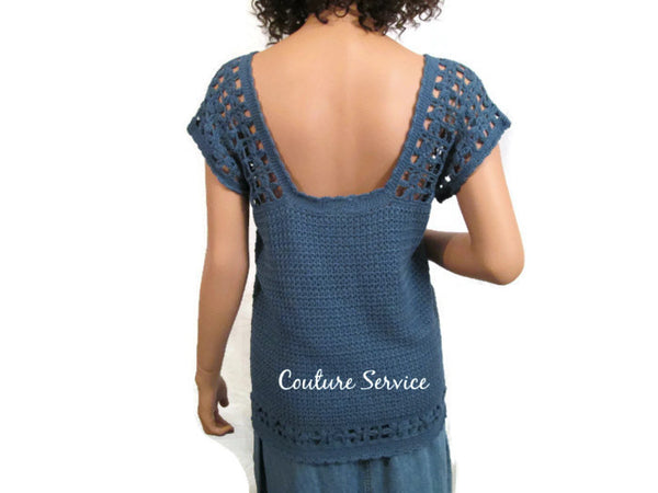 Handmade Crocheted Bamboo Lace Tank Top, Blue - Couture Service  - 3