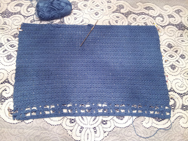 Handmade Crocheted Bamboo Lace Tank Top, Blue - Couture Service  - 4