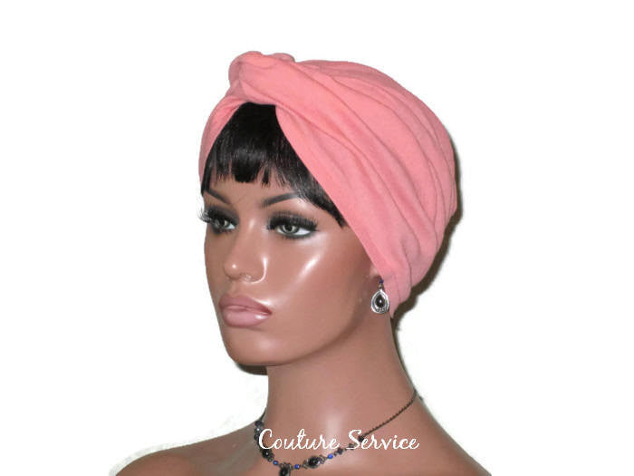 Handmade Orange Twist Turban, Salmon, Cotton Gauze - Couture Service  - 1