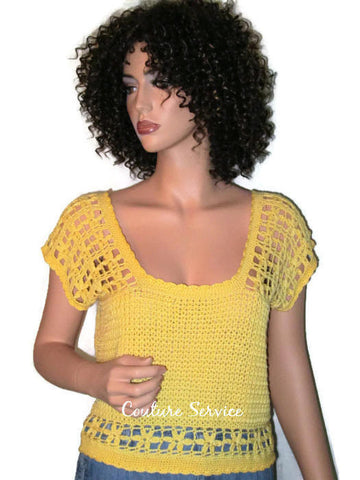 Handmade Crocheted Bamboo Yellow Lace Tank Top - Couture Service  - 1