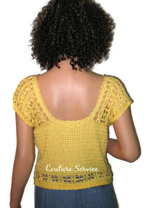 Handmade Crocheted Bamboo Yellow Lace Tank Top - Couture Service  - 3