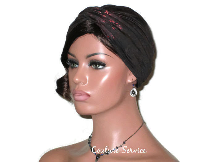 Handmade Black Twist Turban, Red, Metallic - Couture Service  - 1