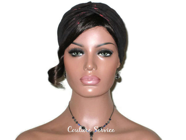 Handmade Black Twist Turban, Red, Metallic - Couture Service  - 2