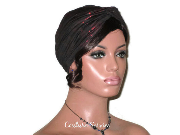 Handmade Black Twist Turban, Red, Metallic - Couture Service  - 3