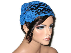 Handmade Scalloped Edge Lace Demi Cloche, Blue - Couture Service  - 1