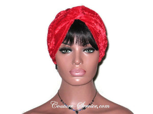 Handmade Red Twist Turban, Velour - Couture Service  - 1