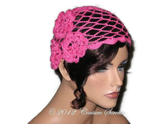 Handmade Scalloped Edge Lace Demi Cloche, Pink - Couture Service  - 2