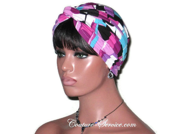 Handmade Purple Twist Turban, Abstract, Rayon - Couture Service  - 1