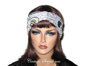 Handmade Grey Rhinestone Headband Turban, Abstract, Yellow - Couture Service  - 1