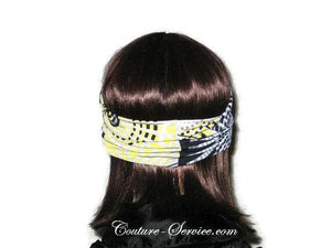 Handmade Grey Rhinestone Headband Turban, Abstract, Yellow - Couture Service  - 3