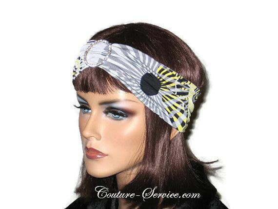 Handmade Grey Rhinestone Headband Turban, Abstract, Yellow - Couture Service  - 2