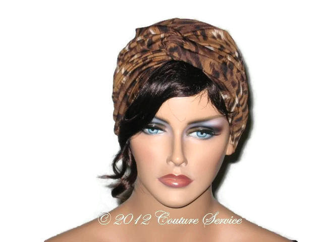 Handmade Brown Twist Turban, Animal Print - Couture Service  - 1