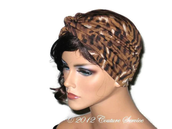 Handmade Brown Twist Turban, Animal Print - Couture Service  - 2