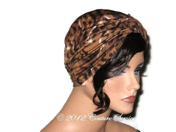 Handmade Brown Twist Turban, Animal Print - Couture Service  - 4