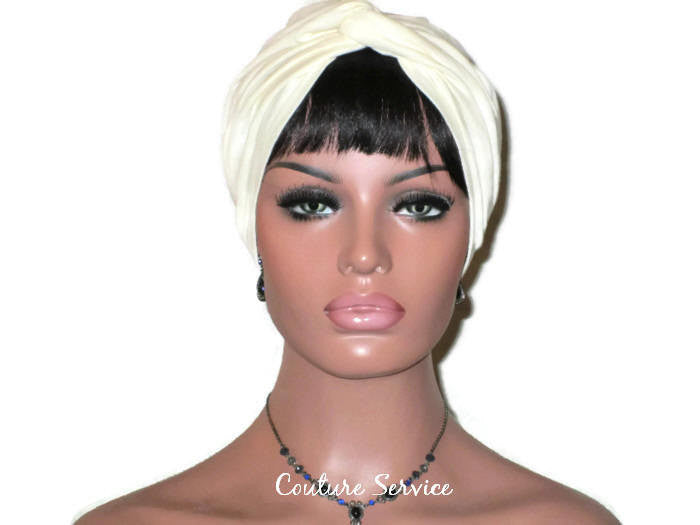 Handmade Ivory Twist Turban, Organic Cotton - Couture Service  - 1