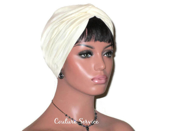 Handmade Ivory Twist Turban, Organic Cotton - Couture Service  - 2