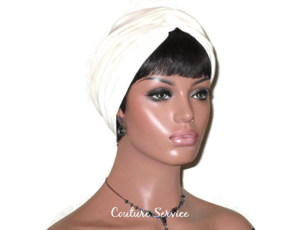 Handmade Cream Twist Turban, Oatmeal Rayon - Couture Service  - 2