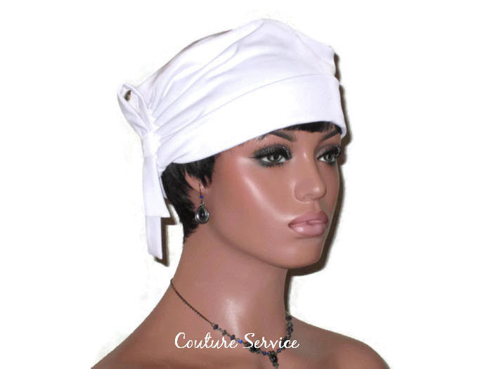 Handmade White Lined Turban Hat, Side Looped - Couture Service  - 1
