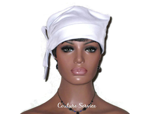 Handmade White Lined Turban Hat, Side Looped - Couture Service  - 2