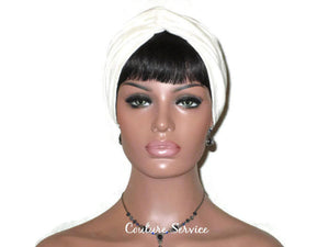 Handmade Cream Twist Turban, Oatmeal Rayon - Couture Service  - 1