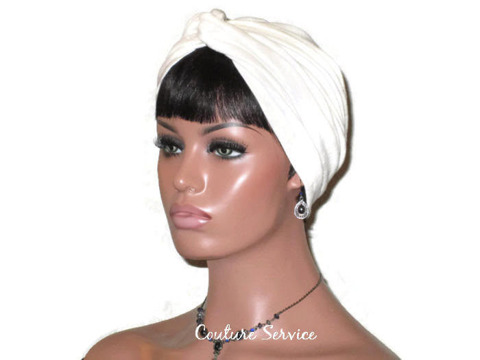 Handmade Cream Twist Turban, Oatmeal Rayon - Couture Service  - 4