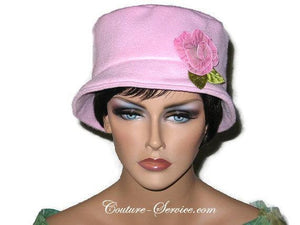 Handmade  Lined Fleece Bucket Hat, Soft Pink - Couture Service  - 2