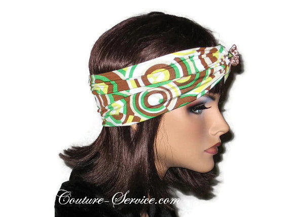 Handmade Brown Knot Headband Turban, Abstract, Green - Couture Service  - 4