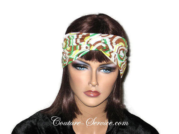 Handmade Brown Knot Headband Turban, Abstract, Green - Couture Service  - 1
