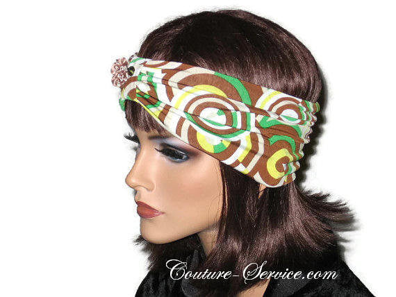Handmade Brown Knot Headband Turban, Abstract, Green - Couture Service  - 2