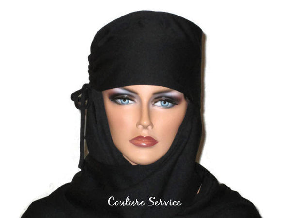 Handmade Black Turban Scarf Hat, Side Shirred - Couture Service  - 1