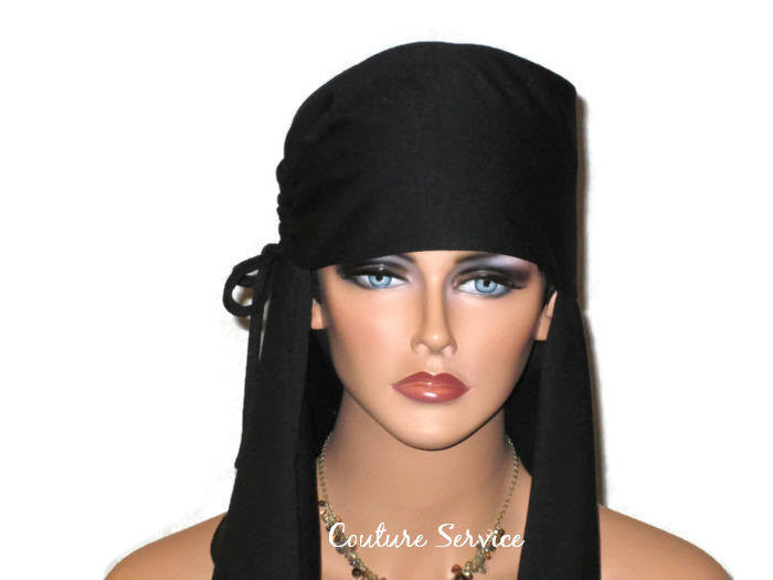 Handmade Black Turban Scarf Hat, Side Shirred - Couture Service  - 5