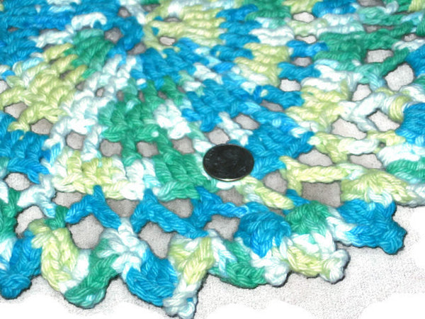 Handmade Decorative Blue Crocheted Cotton Doily, Variegate - Couture Service  - 2