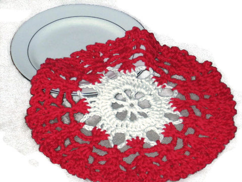 Handmade Red and Cream Decorative Crocheted Doily - Couture Service  - 1
