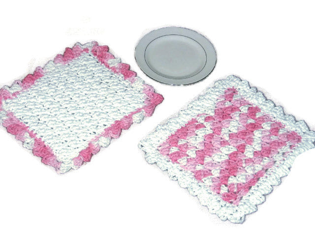 Handmade Decorative Crocheted Cotton Dishcloth Set, Pink, White - Couture Service  - 1