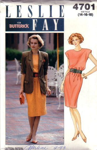 Vintage Butterick 4701 Designer Leslie Fay Dress and Jacket Size 14-18 - Couture Service  - 1