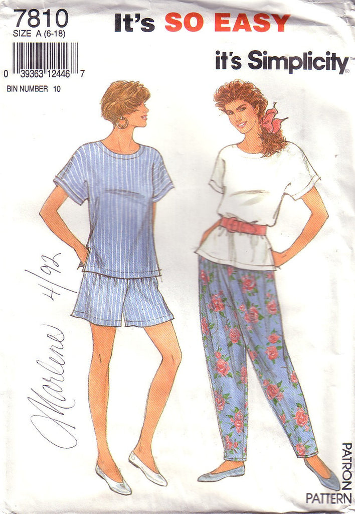 Vintage Simplicity 7810, Top, Pants, Shorts,  Size 6 to 18 - Couture Service  - 1