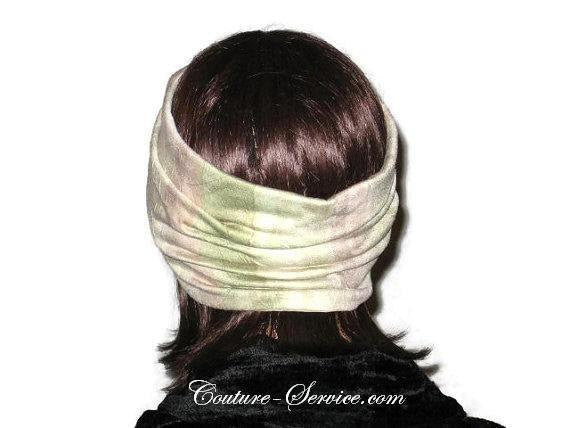 Handmade Sage and Peach Pleated Knot Headband Turban - Couture Service  - 3