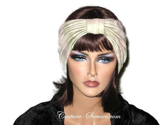 Handmade Sage and Peach Pleated Knot Headband Turban - Couture Service  - 1