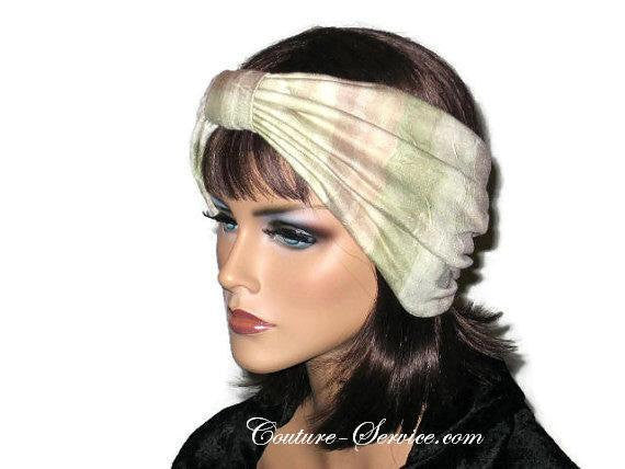 Handmade Sage and Peach Pleated Knot Headband Turban - Couture Service  - 2